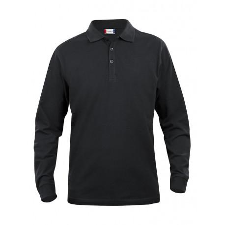 Polo manches longues 100% Coton 200gr NOIR - NEW WAVE®