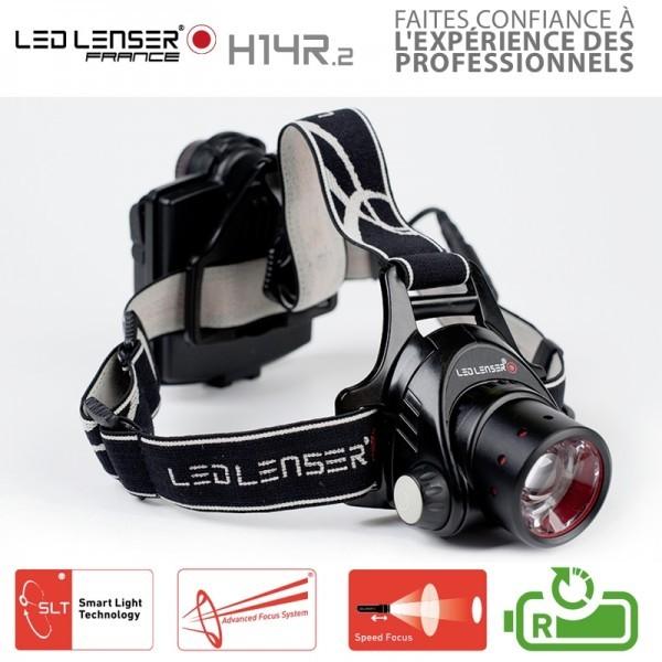 DEL Lenser h14r.2 DEL Lampe Frontale Lampe au Chapeau 1000 Lm Batterie De Rechange Pêche outdor