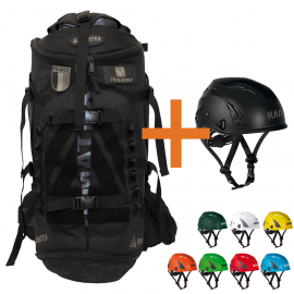Sac CATAPULTE full black - DIMATEX/L'EQUIPEUR + casque KASK