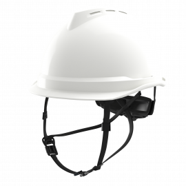 CASQUE NON VENTILE V-GUARD 520 L'EQUIPEUR BLANCSANS PORTE BADGE JUGULAIRE 4 POINTS