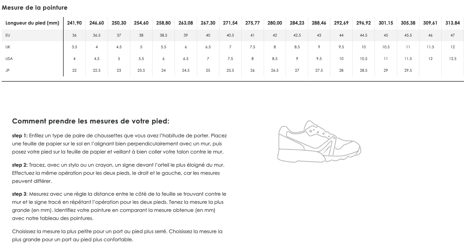 Guide des pointures - DIADORA
