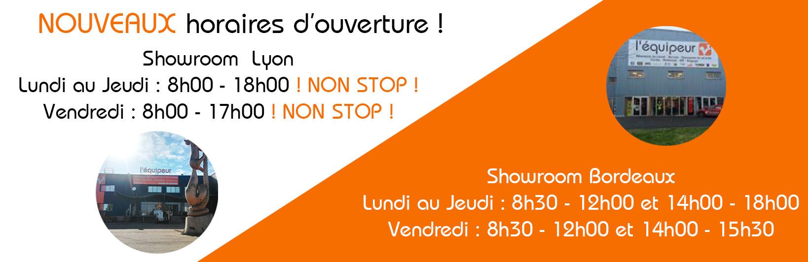 Nouveau horaires d'ouverture Showroom l'équipeur Pierre Bénite